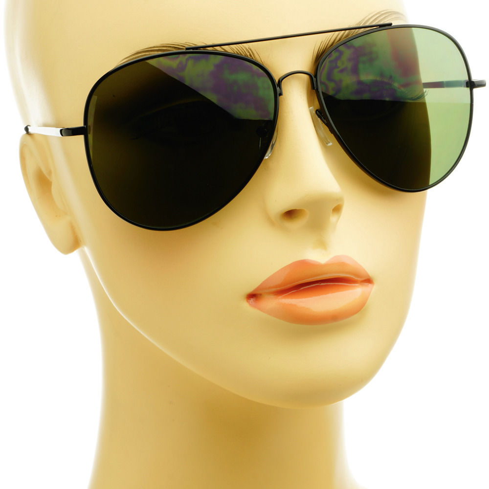 Fashion retro style black metal large pilot aviator sunglasses shades green lens
