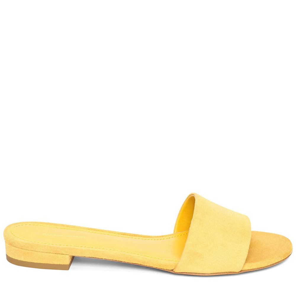 Mansur Gavriel Suede Flat Single Strap Sandal - Sun