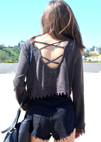 top gray top crop tops long sleeves long sleeve crop top fringe fringes fringed top open back open back top criss cross back top criss cross criss cross back