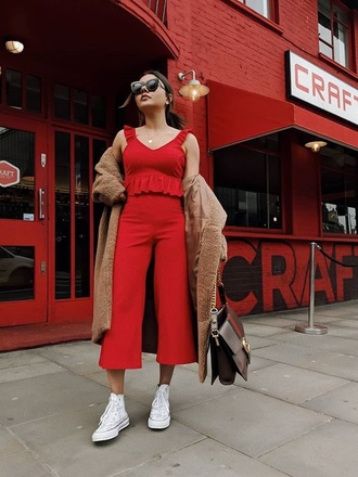 pants red pants cropped cropped pants culottes top red top ruffle trench coat sneakers white sneakers sunglasses