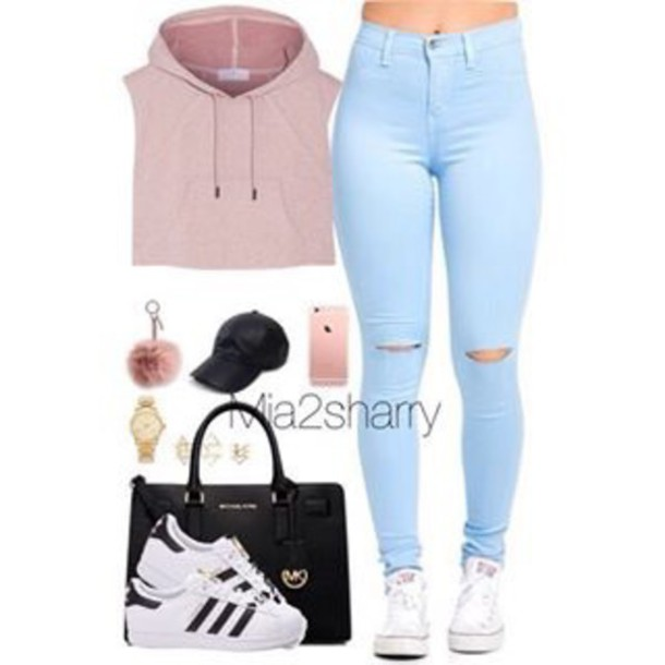 Jacket Pink Girly Instagram Baddie Jeans Ripped Jeans - Wheretoget