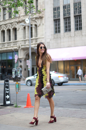 b a r t a b a c,blogger,dress,shoes,bag,sunglasses,dionysus,gucci bag,v neck dress,plunge dress,round sunglasses,thick heel,burgundy shoes,colorful,mini dress,summer dress