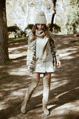 cardigan tumblr print sweater nude sweater scarf knitted scarf skirt mini skirt white skirt zipped skirt boots nude boots flat boots over the knee boots thigh high boots beanie pom pom beanie