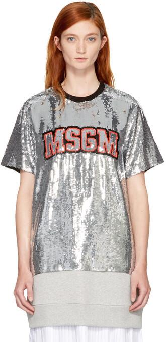 t-shirt shirt silver top