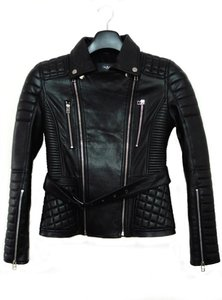 Back stage* — fashion runway quilted and fitted leather bike jacket (only 1 pieces)