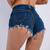 zip back denim shorts
