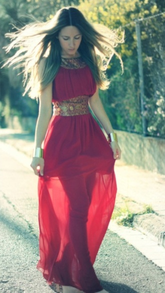dress long prom dress red dress prom dress loose dress chiffon formal dress burgundy gold cuffs high neck dress belt dress brocade dress long gown