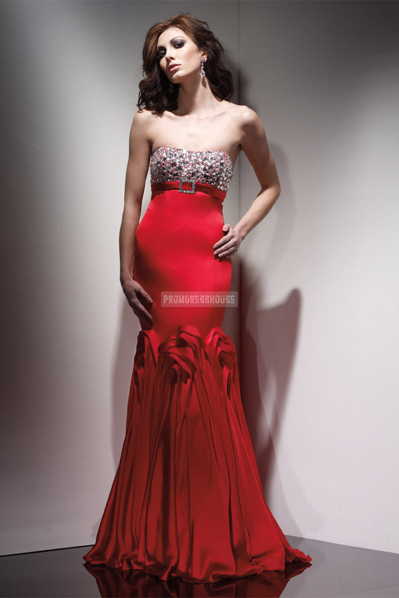 Draped Strapless Beaded Empire Waist A-line Red Evening Dress - Promdresshouse.com