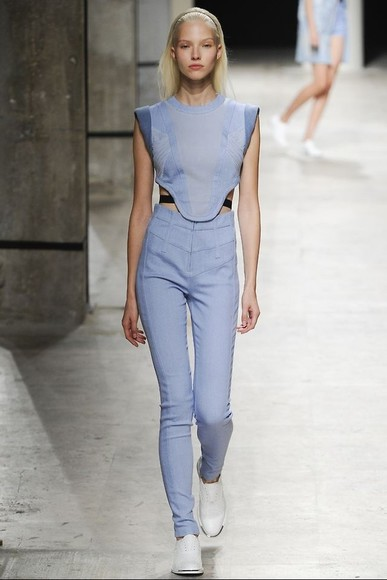 pants high waisted pants blue cuff cuffed trousers