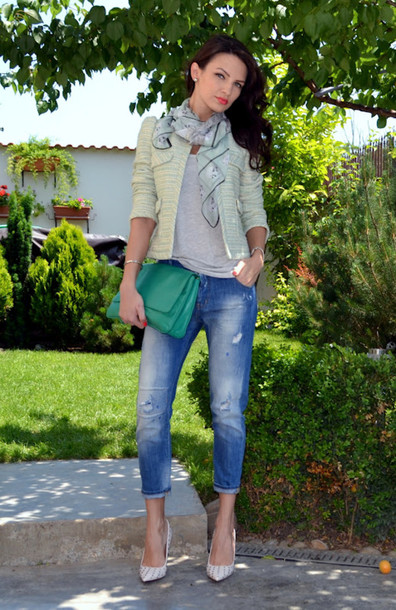 my silk fairytale jacket jeans t-shirt scarf shoes bag jewels