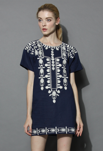 dress boho stitch shift dress in navy chicwish boho dress navy dress shirt dress shift dress chicwish.com