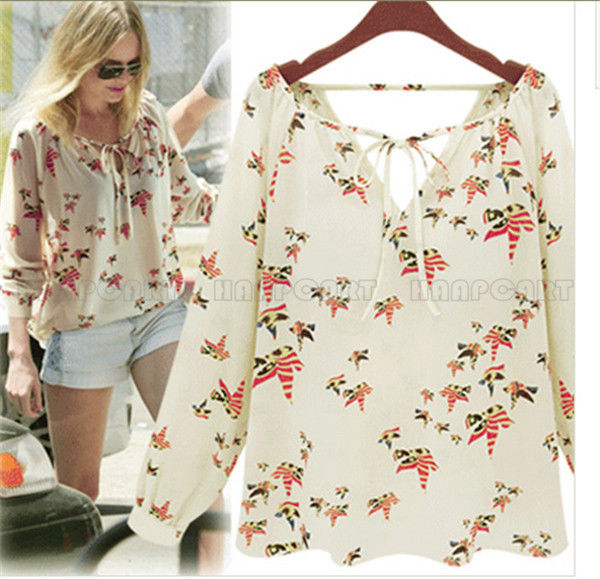 New Fashion Ladies' elegant floral print blouse V-neck | Amazing Shoes UK