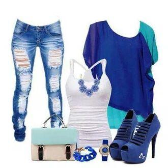 shoes pants blue blouse blue heels torn jeans