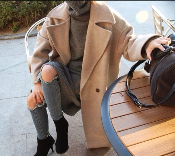 grey trench coat cream winter outfits jumper turtleneck ripped jeans denim high heels beige fall outfits september style cardigan coat caramel winter coat camel coat tumblr fashionista coat jacket jumpsuit winter outfits bag beige jacket kim kardashian caramel coat grey sweater