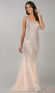 Temptation Beaded Evening Dress, One Shoulder Prom Dress-PromGirl