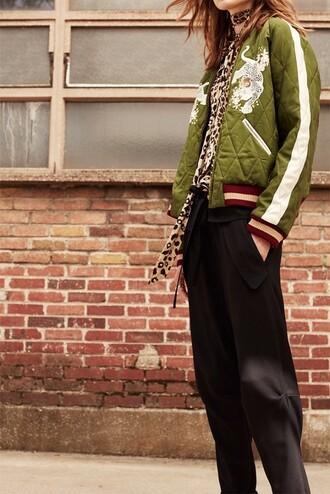 jacket quilted embroidered designer chloe khaki bomber jacket bomber jacket embellished jacket