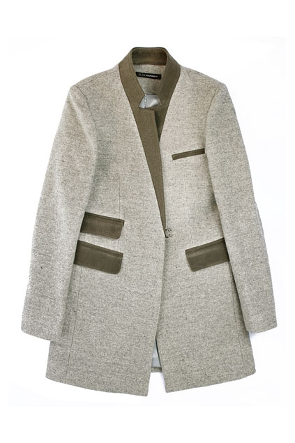 Slim fit Notched Collar Splicing Studded Coat - OASAP.com