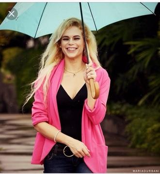 jacket durbani pink jacket maria durbani pink barbie style celebrity style celebrity smile