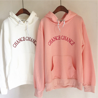 sweater pink white sexy hoodie sweatshirt korean fashion chance hoodie sweater sporty cool casual