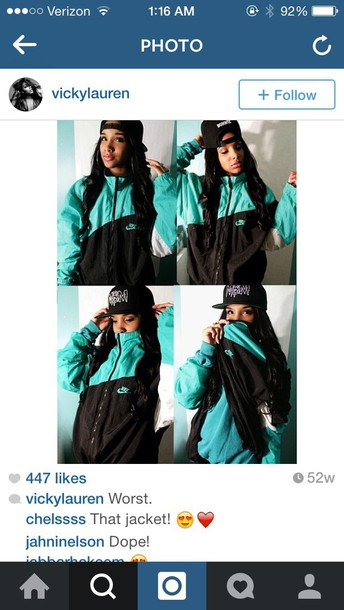 jacket blue/green nike jacket vintage pullover