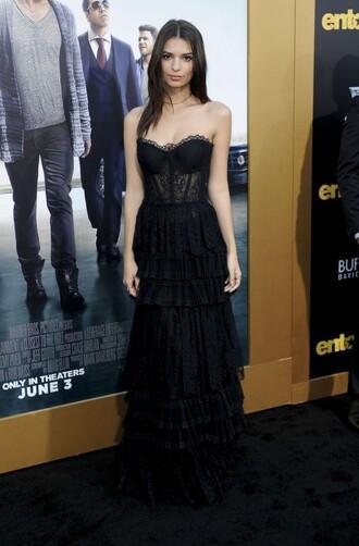 dress prom dress lace lace dress black dress bustier bustier dress emily ratajkowski