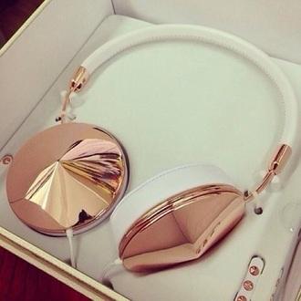 earphones headphones diamonds white gold classy music