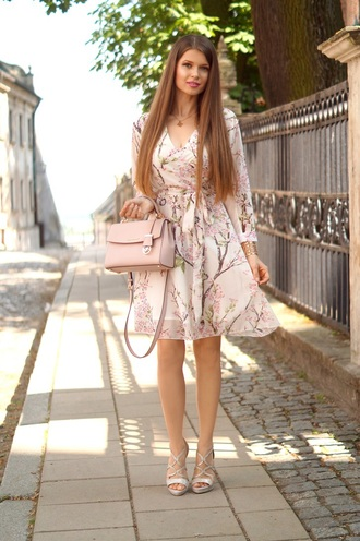 only my fashion style blogger dress bag shoes summer outfits summer dress handbag pink bag sandals