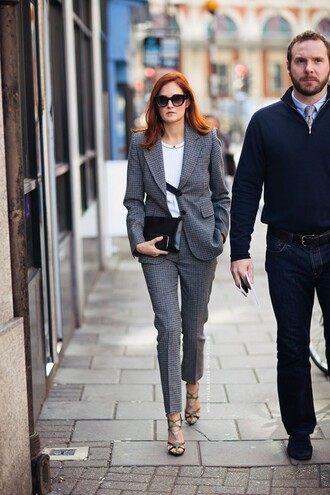 pants power suit cropped pants womens suit grey pants top white top grey top blazer grey blazer clutch black clutch sunglasses black sunglasses sandals sandal heels high heel sandals shoes streetstyle fall outfits office outfits business casual two piece pantsuits matching set
