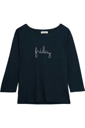 top embroidered friday navy cotton