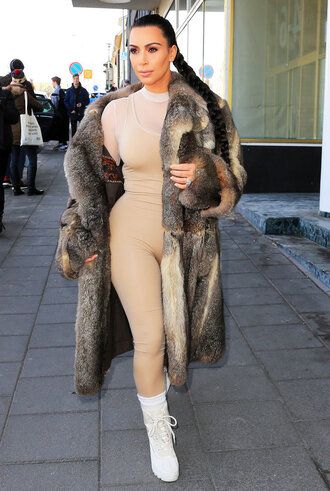 leggings bodysuit boots kim kardashian kardashians nude