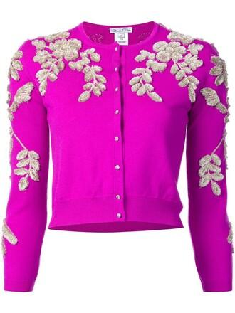 cardigan women floral wool purple pink sweater