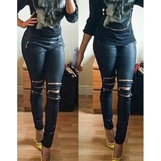 leggings zip leather chic all black everything curvy style pants