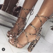 shoes,reptile,strappy heels,brown,tan,open toes