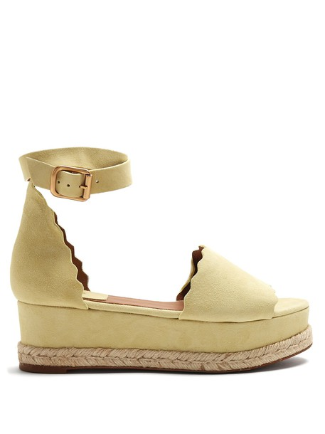Chloe espadrilles suede light yellow shoes