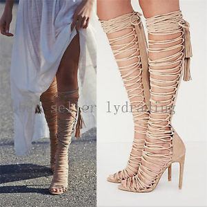 8a914499635 Women s Suede Tassel Lace Up Knee High Roman Gladiator Sandals ...