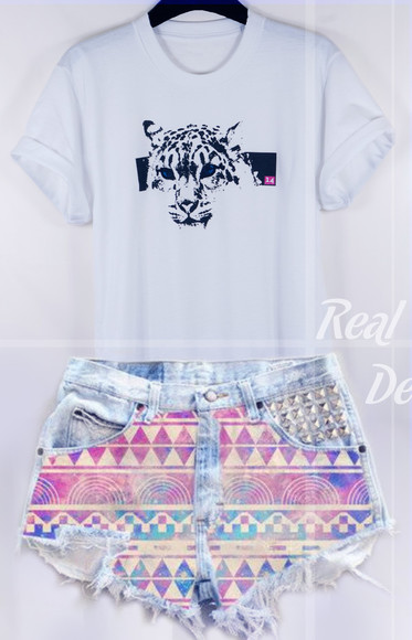tiger print t-shirt lion 14 london shorts denim shorts casual colorful impression14.com