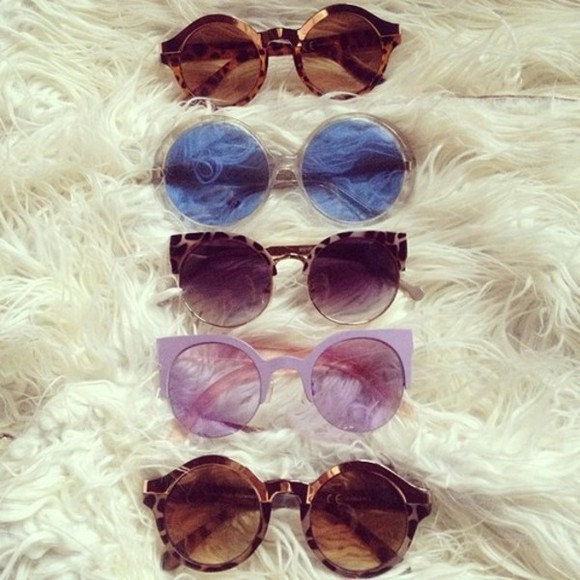 sunglasses cat eye brown sunglasses purple sunglasses round sunglasses tortoiseshell indie blue sunglasses gold jewels glasses cute weird