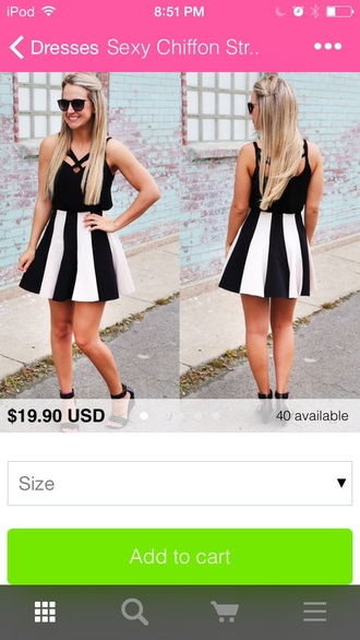 dress black black dress black and white dress black and white strips and floral style fashion clothes
