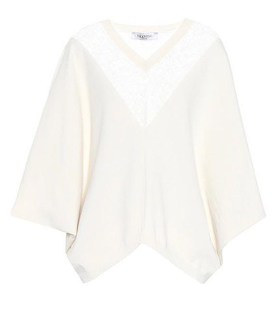 poncho lace white top