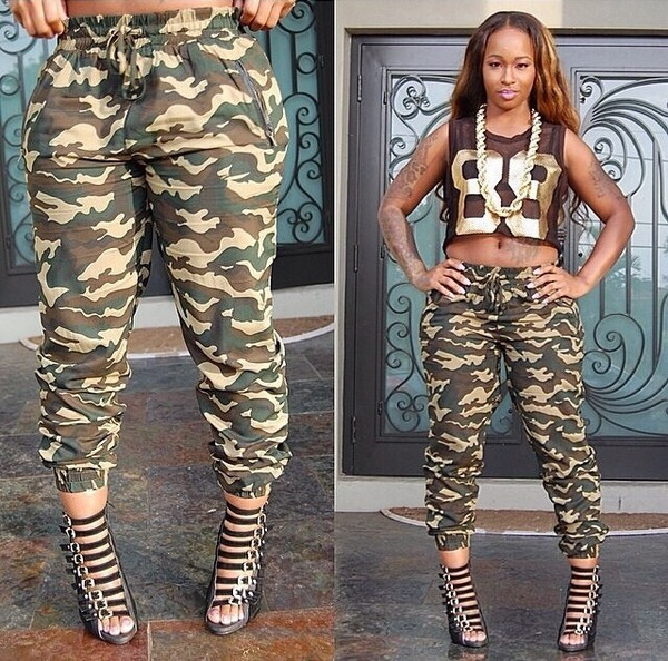 Blouse Crop Tops Jersey Fashion Camouflage High Heels Necklace Chain Pants Shoes Army