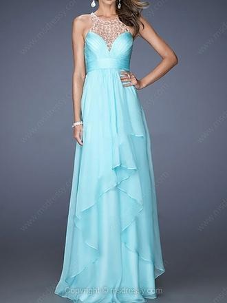dress ruffle ruffle dress ruffle hem turquoise turquoise dress blue dress blue prom dress beaded neckline beaded beaded dress