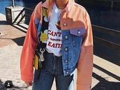 coat,asos,jacket,pink block colour denim shirts