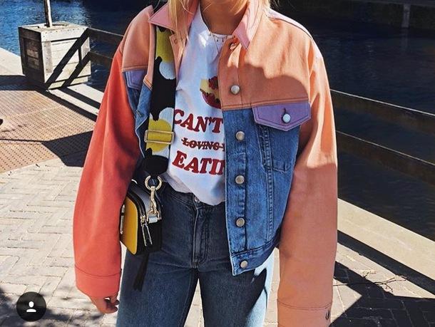61aba4069f7b coat asos jacket pink block colour denim shirts