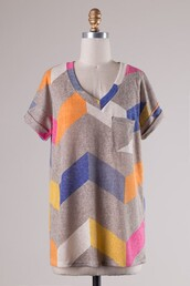 top,taupe,chevron,sublimation,pocket t-shirt