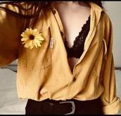 shirt,tomboy,yellow,yellow top,denim,top,long sleeves,mustard,tumblr outfit,tumblr girl