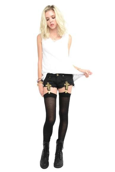 garter shorts cross