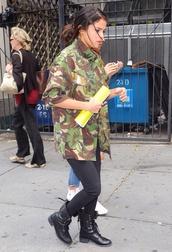 shoes,boots,combat boots,selena gomez,jacket