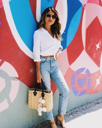 shirt white shirt denim jeans blue jeans sandals sandal heels bag woven bag summer outfits shoes