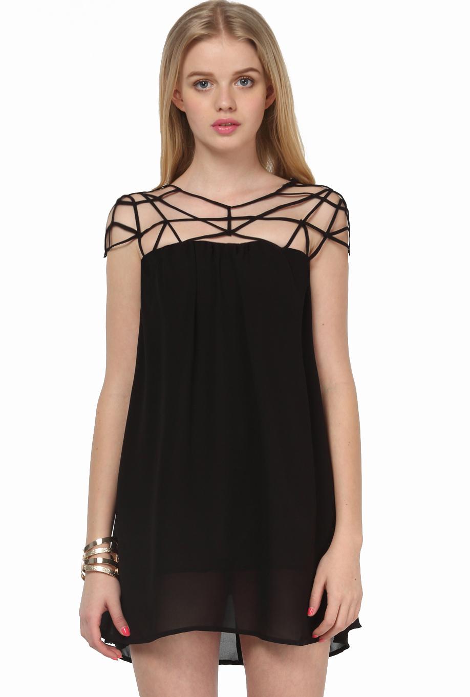 Chiffonkleid mit ausgeschnittenen Schultern, schwarz-Sheinside