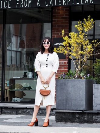 dress white sunglasses tumblr midi dress white dress button up shoes glove heels bag handbag sunglasses